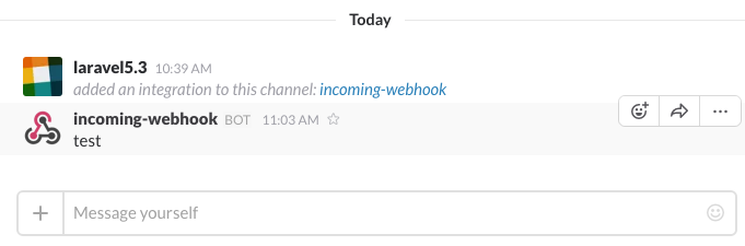 message by incoming-webhook