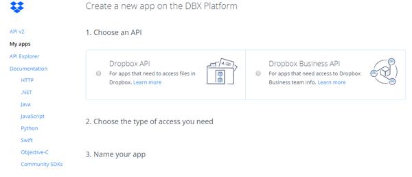 dropbox apiの選択