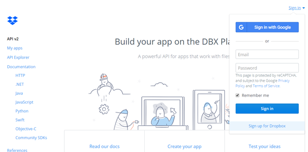 dropbox developerトップページ