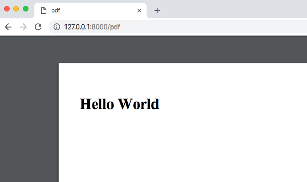 PDFにHello Worldを表示
