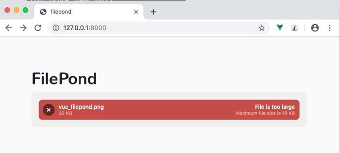 maxFileSizeサイズを超えたファイルをアップした場合