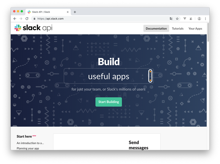 slack apiトップページ