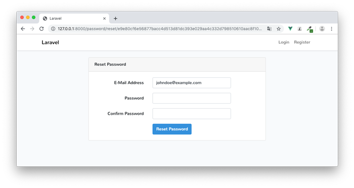 新しいパスワードを入力する画面