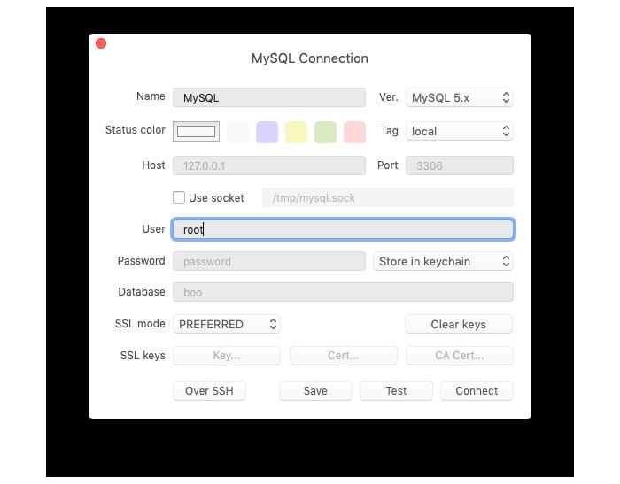 MySQLの接続情報を入力