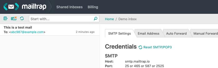 送信されたメールをmailtrapで受信