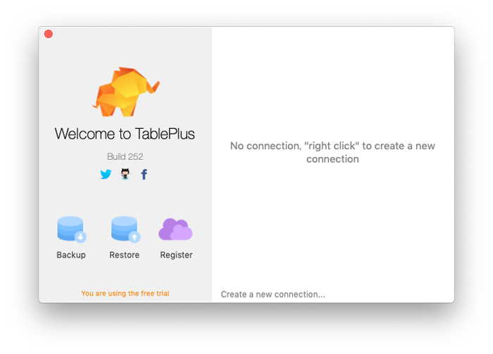 TablePlusの初期画面