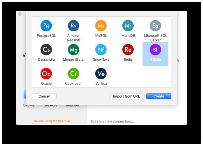 SQLiteを選択