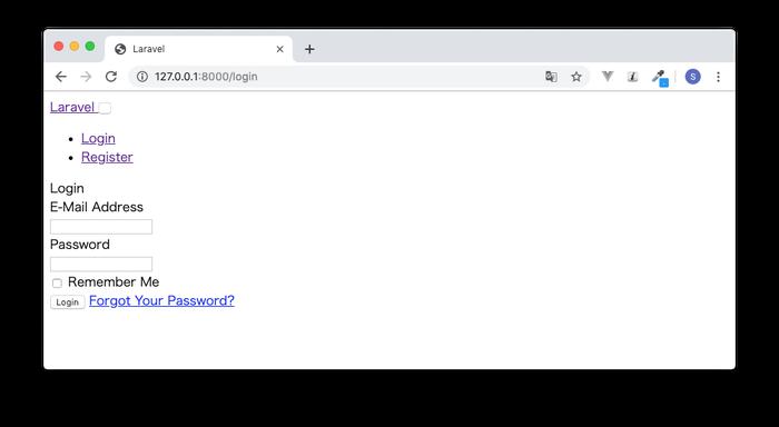 CSSが適用されていないログイン画面