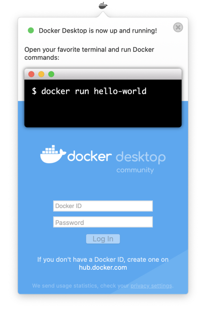 Dockerデスクトップ起動完了