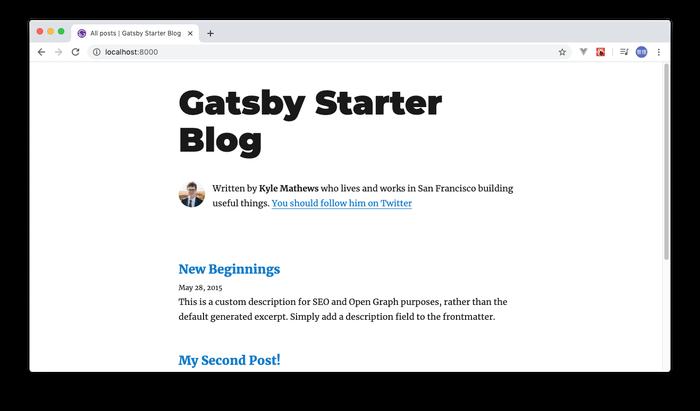 blog starterの初期画面