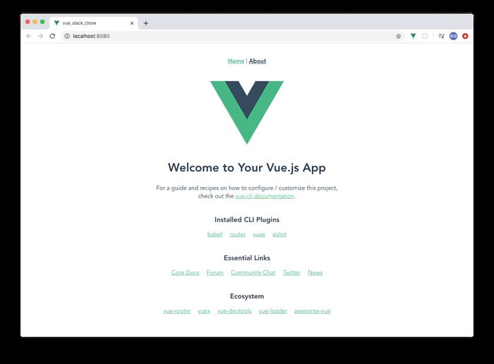 vue.jsプロジェクトの初期画面