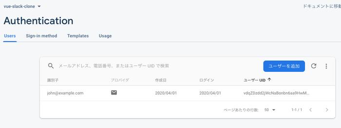 Firebaseのコンソールからユーザ登録確認
