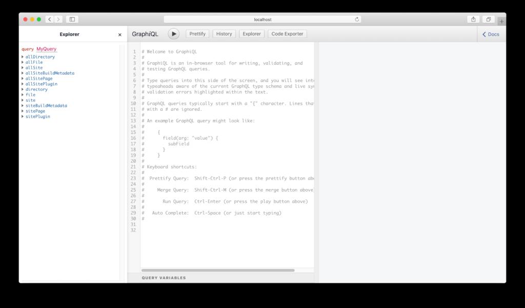 GraphiQL初期画面