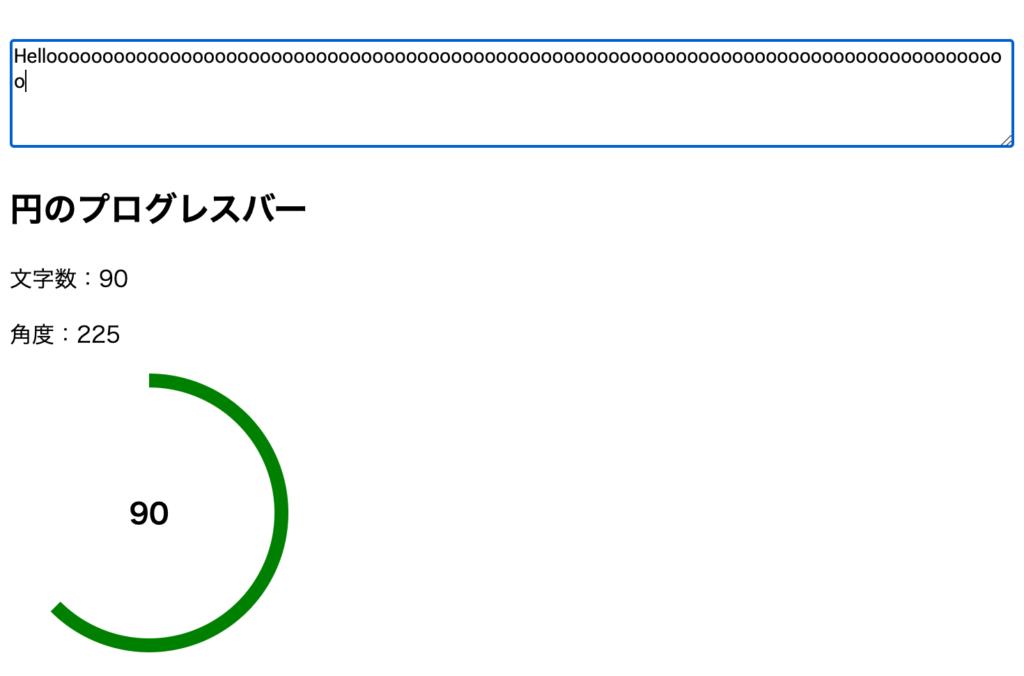 円の中央に文字が表示