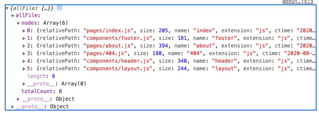 コンソールログで取得したデータを表示