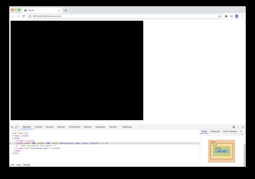 PIXIJSの初期画面