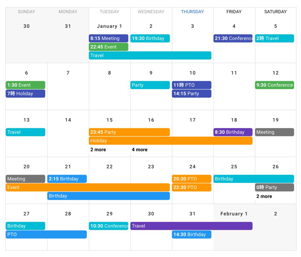 vuefityのカレンダーを参考