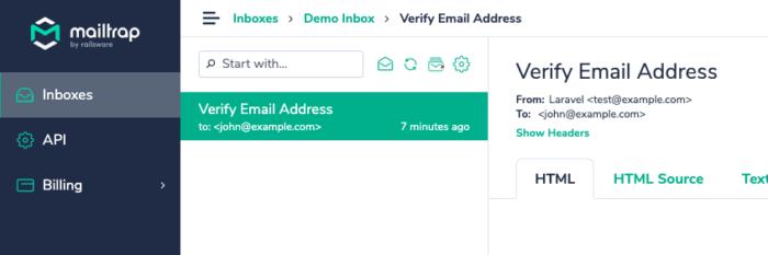 MailtrapのInbox