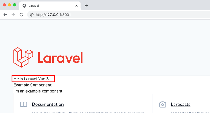 Hello Laravel Vue3の表示