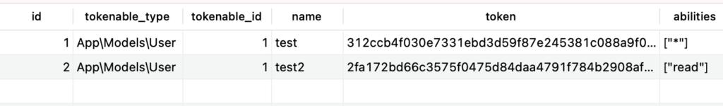 TablePlusで追加したトークンを確認