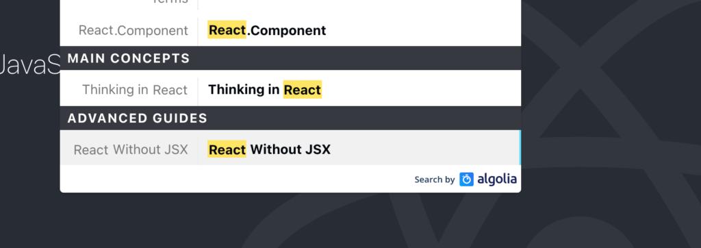 algoliaを検索に利用しているReact