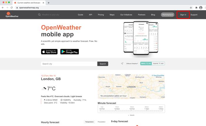 OpenWeatherのトップページ
