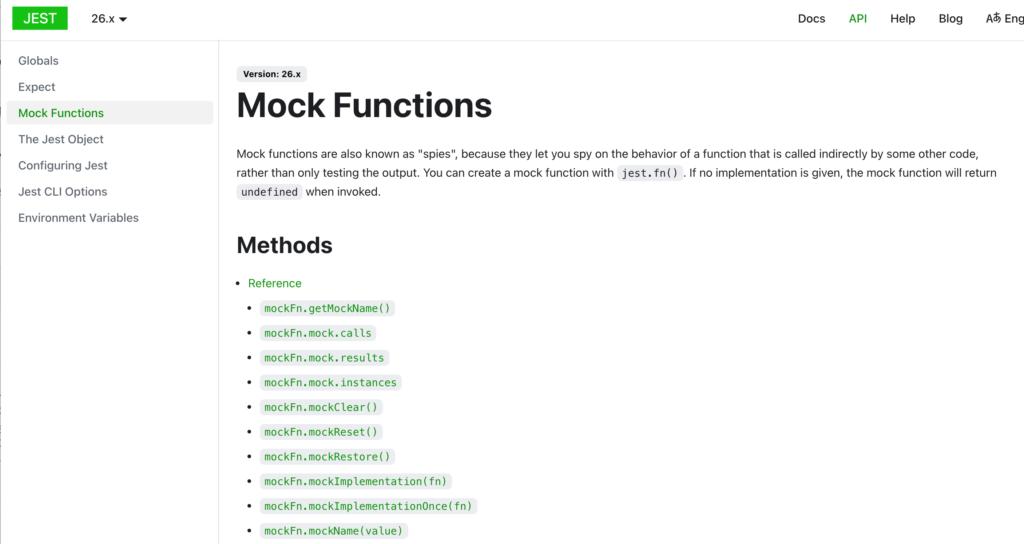 Mock関数のメソッド一覧