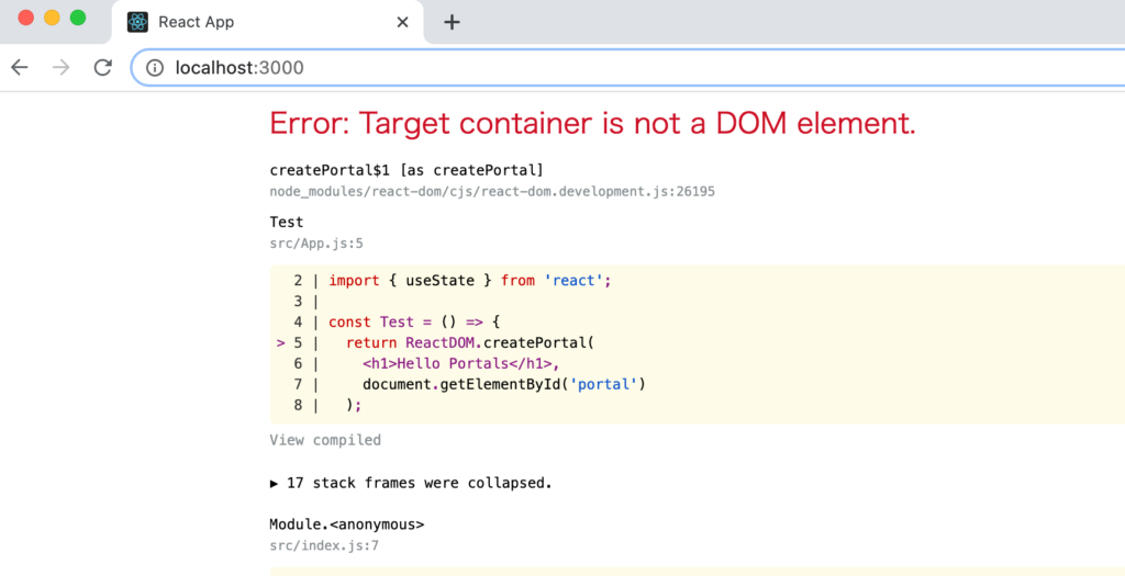 Error: Target container is not a DOM element.