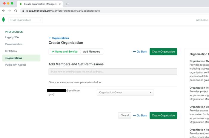 Create Organization画面