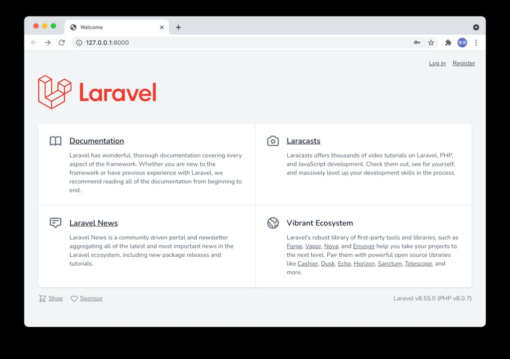 Laravelの初期画面